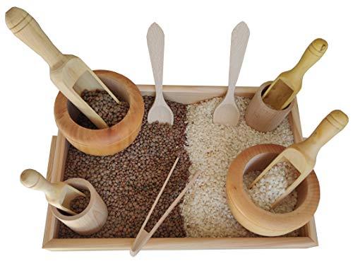 Gerileo Küchen-Zubehör-Set aus Holz – Umsetzer Montessori – Tablett mit Zange, Löffel, Mörser,...