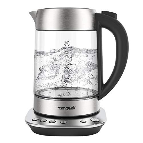 Wasserkocher, Homgeek Wasserkocher mit Temperatureinstellung, 1,7L, 2200W, Wasserkocher Glas mit...
