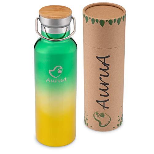 AuruA® Thermosflasche Edelstahl Trinkflasche für Kinder und Erwachsene, nachhaltige Isolierflasche Metall,...