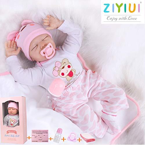 ZIYIUI Reborn Baby-Puppe 22Zoll 55cm Realistisch Weiches Vinylsilikon Baby Puppe Mädchen Handgemacht...