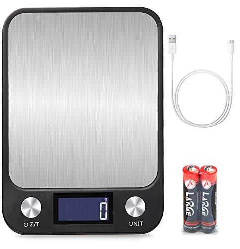 Vecoor Küchenwaage 1g bis 15kg,Hochpräzise Digitale Küchenwaage,USB Aufladen Touch Control,Große...