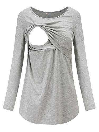 Love2Mi Damen Schwangere Stillen Shirt Nursing Langarm Rundhals Top Schwangerschaft Umstandstop,Grau,L
