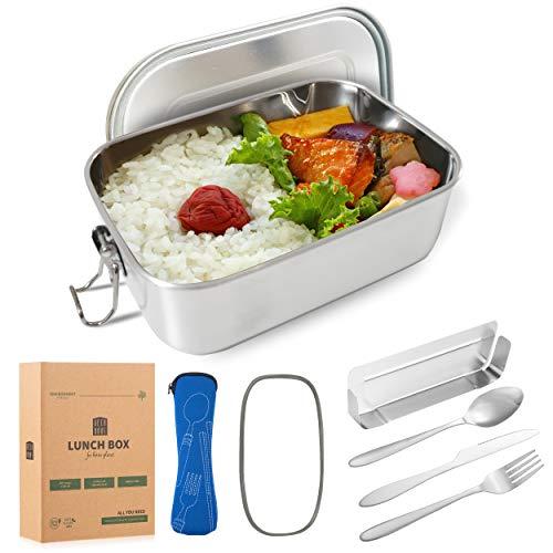 DecoHaus Praktische Edelstahl Bento Box mit Besteck und Bestecktasche 1400ml - Zero Waste Edelstahl Brotdose...