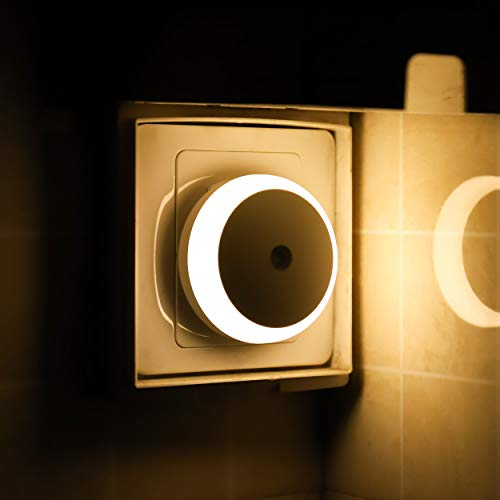 Nachtlicht Stecker, Steckdosenlicht mit Dämmerungssensor, Warmweiß, Automatisch ON OFF, Energiesparende LED,...