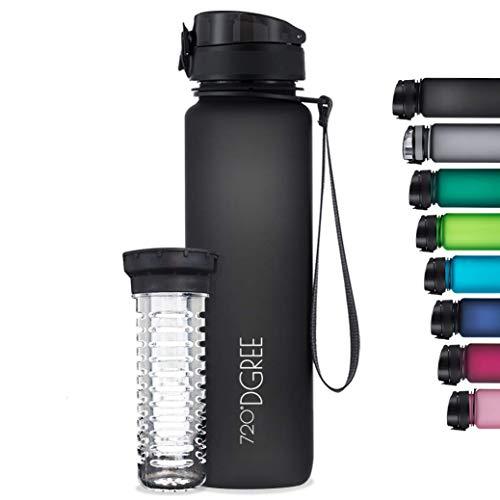 """720°DGREE Trinkflasche """"uberBottle"""" softTouch +Früchtebehälter - 1L - BPA-Frei - Wasserflasche für..."""