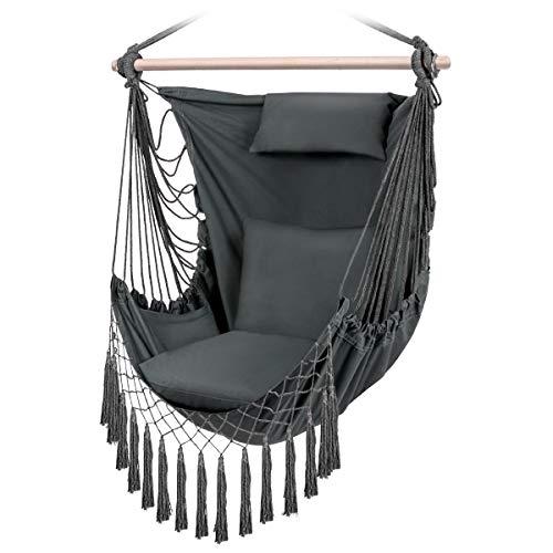 Sunix Hängesessel mit 3 Kissen, XXL Hängestuhl für Erwachsene & Kinder, Belastbar bis 150 kg Baumwolle...