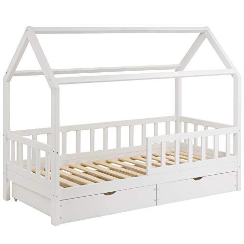 Schönes Kinderbett 90x200 cm mit Rausfallschutz - Hausbett mit Schubladen für Kinder aus Holz...