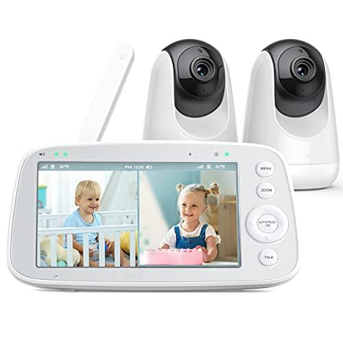 Babyphone mit teilbarem Bildschirm, 5' 720P Video Babyphone mit 2 Kameras, Audio und Video Überwachung,...