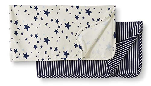 Moon and Back by Hanna Andersson Babydecke, Bio-Baumwolle, 2er-Pack, navy, One Size