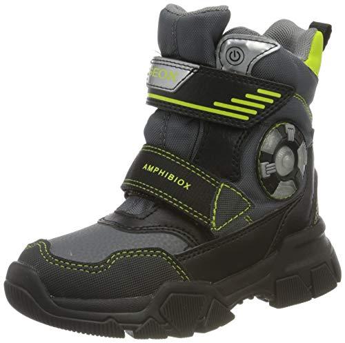 Geox J NEVEGAL Boy ABX D Snow Boot, Dk Grey/Lime, 33 EU