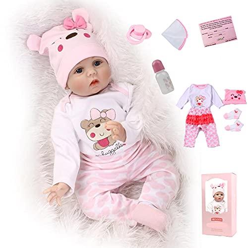 ZIYIUI 22Zoll Reborn Babypuppe Babys Puppe wie Echtes Baby Weiche Silikon Vinyl echt Babypuppen Lebensechte...
