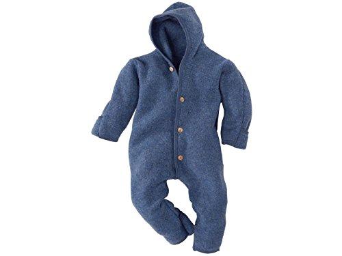 Engel-Natur Baby Overall mit Kapuze aus Bio Schurwoll-Fleece, Blau Melange, Gr. 62/68