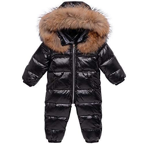 Baby Schneeanzüge Winter Overall Mit Kapuze Daunen-Skianzug Strampler Mädchen Jungen Winter Outfits, Schwarz...
