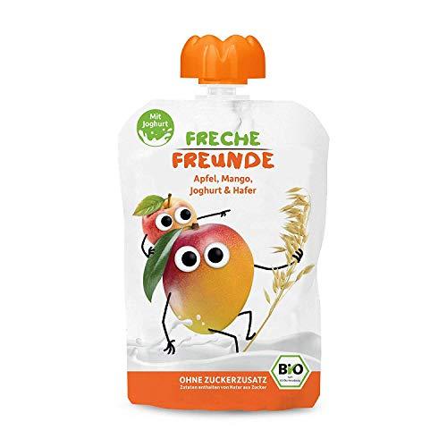 FRECHE FREUNDE Bio Quetschie Mango, Joghurt und Hafer, Fruchtmus mit Joghurt im Quetschbeutel für Babys ab 1...