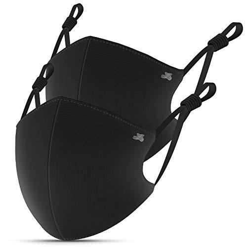 Stoffmaske Schwarz,Gesichtsmaske mit Nasenbügel,4-lagig BFE 95% Baumwolle Masken,Mundschutz Maske Waschbar...