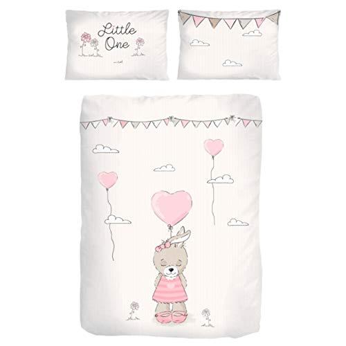 Baby-Bettwäsche Set Baumwolle Biber ☆ Kinderbettwäsche 135x100 für Mädchen ☆ Hase Little One ☆ rosa,...