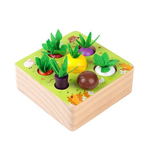Hearthrousy Holzspielzeug Montessori Karottenernte Spielzeug Sortierspiel Holz Für Kinder Baby Karotten...
