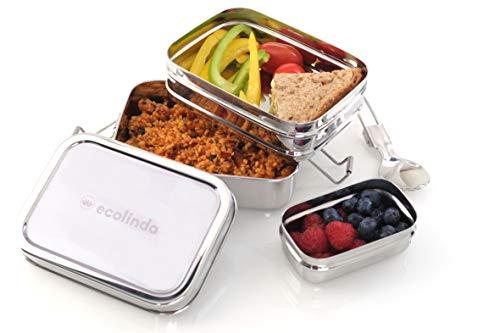ecolinda Brotdose Kinder Edelstahl 3in1 | Bento Box nachhaltig & Kindergarten Lunchbox Metall für Meal Prep |...