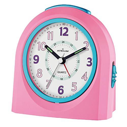 ATRIUM Wecker analog rosa ohne Ticken mit Licht und Snooze, Schlummerfunktion Quarz-Wecker A921-17