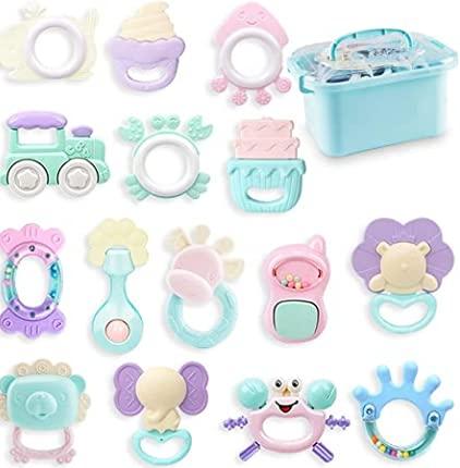 Baby Rassel und Beißring 15 Stück Set,mit einem Koffer für das Spielzeug Neugeborenes...