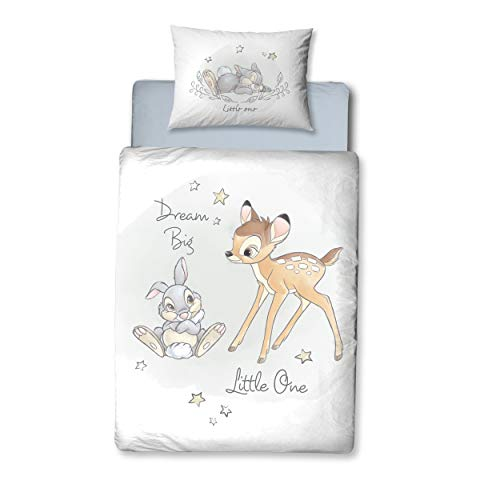 Bambi Babybettwäsche Flanell/Biber ☆ 1 Kissenbezug 40x60 + 1 Bettbezug 100x135 cm ☆ Kinderbettwäsche...