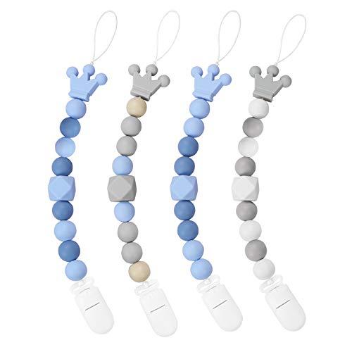 Yoofoss Silikon Schnullerkette 4er Pack Blau und Grau Schnullerketten Krone-Nuckelkette mit Silikonperlen...