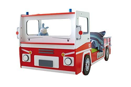 Autobett Feuerwehr inkl. Rollrost 90 * 200 Rot Weiß SOS Truck Kinderzimmer Renn Jugend Einzel Liege Spielbett