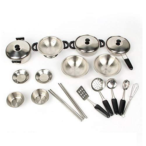 Vientiane Kinder Küche Kochgeschirr Spielzeug, Edelstahl Küche Pretend Spielzeug, Edelstahl Töpfe und...