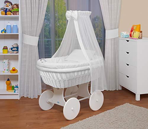 WALDIN Baby Stubenwagen-Set mit Ausstattung,XXL,Bollerwagen,komplett,18 Modelle wählbar,Gestell/Räder weiß...