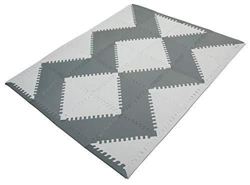 Puzzlematte Baby - 40 Stücke und 18 Rändern; 31,5 x 31,5 cm; Grau und Weiß - Stilvolle rutschfeste,...