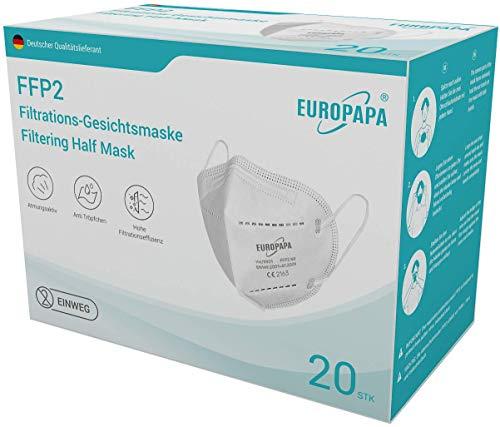 EUROPAPA 20x FFP2 Atemschutzmaske 5-Lagen Partikelfiltermaske hygienisch einzelverpackt Mundschutzmaske EU...