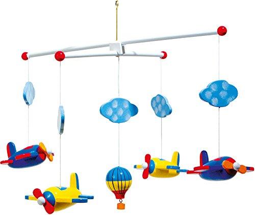 small foot 7938 Mobile 'Luftfahrt' aus Holz, mit Wolken, Flugzeugen und einem Heißlustballon