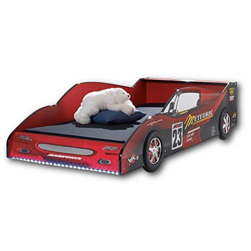 METEOR Rennauto-Bett mit LED-Beleuchtung 90 x 200 cm - Aufregendes Autobett für kleine Rennfahrer in...