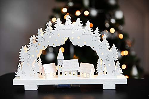 HEITMANN DECO LED-Lichterbogen aus Holz - Stimmungsleuchter - Schwibbogen - beleuchtete Weihnachtsdeko - weiß...