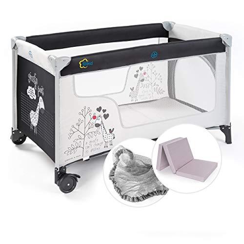 Fillikid Baby Reisebett Set mit Matratze und Moskitonetz - Kinder Babyreisebett mit Rollen und Tasche -...