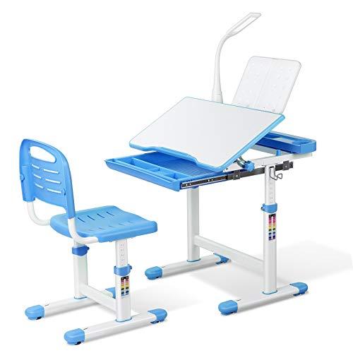 Bamny Kinderschreibtisch Schreibtisch mit Stuhl Schublade und Leseständer Kinder Schülerschreibtisch mit LED...