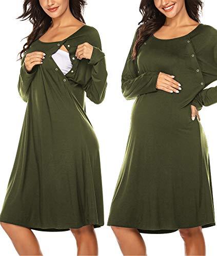 Skione Umstandskleid Stillnachthemd Damen Geburtskleid Knielang Geburtshemd Langarm Nachthemd mit...