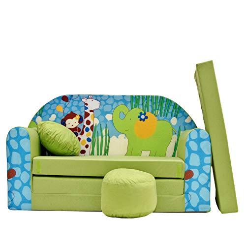 Kinder Sofa Couch Baby Schlafsofa Kinderzimmer Bett gemütlich verschidene Farben und motiven (Z16 grün...