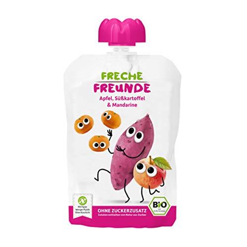 FRECHE FREUNDE Bio Quetschie Apfel, Süßkartoffel & Mandarine, Fruchtmus im Quetschbeutel für Babys ab dem...