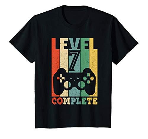 Kinder 7. Geburtstag Junge Mädchen Level 7 Jahre 7-jährig Geschenk T-Shirt