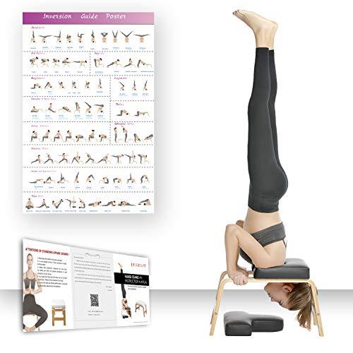 Restiral Life Yoga Kopfstandhocker, Yoga Kopfstandstuhl für Zuhause und Fitnessstudio, Holz und PU Polster,...