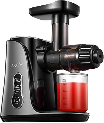 Slow Juicer, AICOOK Entsafter für Obst und Gemüse mit 150W Leise & Sicherer Motor, Höhere...