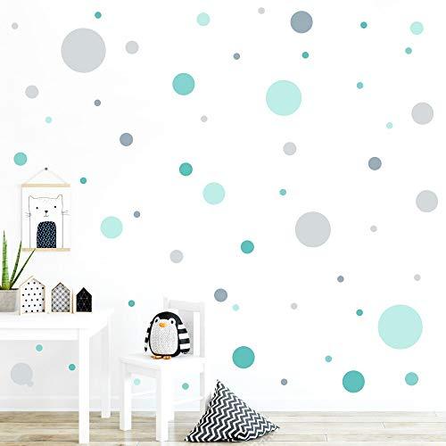 malango® 78 Wandsticker in vielen verschiedenen Farbkombinationen Punkte Kinderzimmer Wandtattoo Kreise...