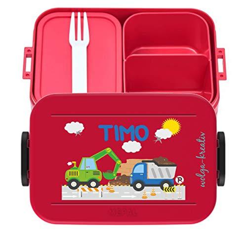 wolga-kreativ Brotdose Lunchbox Bento Box Kinder Laster Bagger mit Namen Mepal Obsteinsatz für Mädchen...