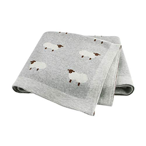 mimixiong 100% Baumwolle Weiche Babydecke 80 x 100 cm für Neugeborene (Grau)