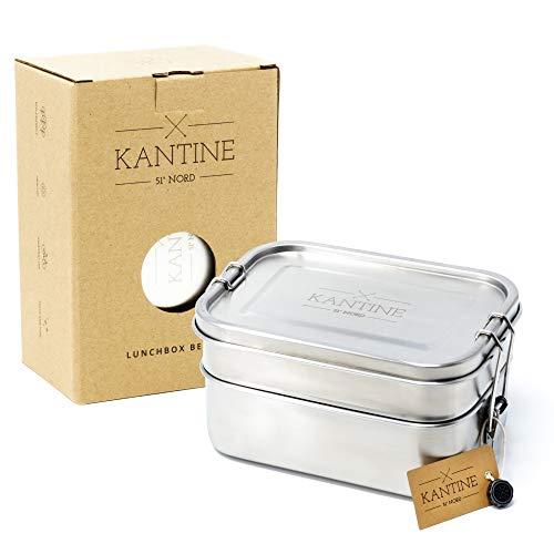 Kantine 51° Nord ® Lunchbox Bento   Auslaufsichere 1200ml Edelstahl Brotdose mit 2 Fächern