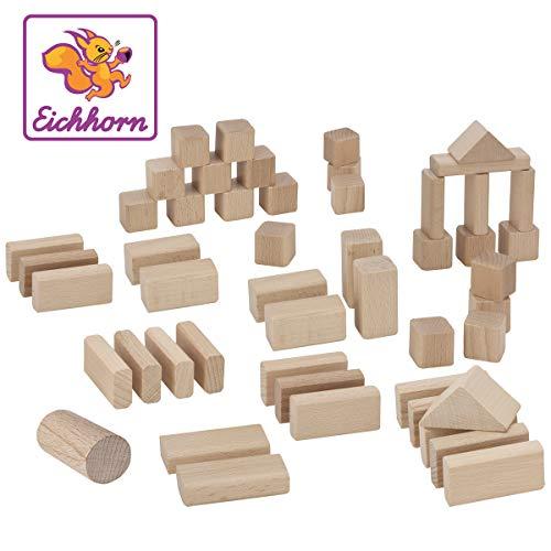 Eichhorn 50 naturfarbene Holzbausteine in Aufbewahrungsbox mit Sortierdeckel, FSC 100% zertifiziertes...