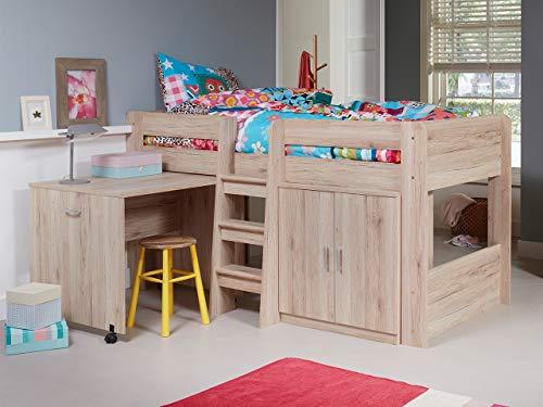 KRYSPOL Etagenbett für Kinder Funky Stockbett mit Treppe, Kleiderschrank und Schreibtische auf Rädern (San...