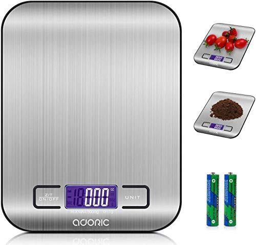 Adoric Küchenwaage Digitalwaage Professionelle Waage Electronische Waage, Küchenwaage mit LCD...