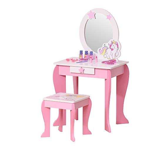 HOMCOM 2-Set Kinderschminktisch mit Hocker Frisiertisch Frisierkommodemit Schublade Spiegel für 3-8 Jahre...